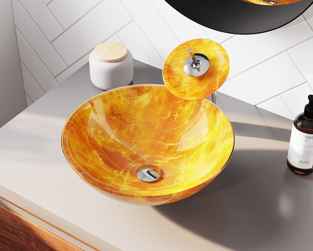 605 Lifestyle Image: Fully Tempered Glass Round Yellow Vessel Bathroom Sink