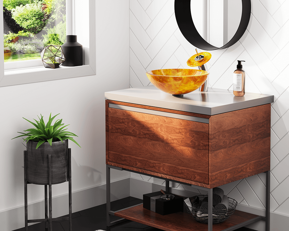 605 Lifestyle Image: Fully Tempered Glass Round Vessel Yellow Bathroom Sink
