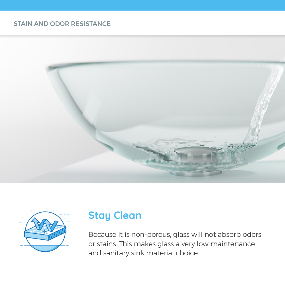 Non-porous glass sink with water