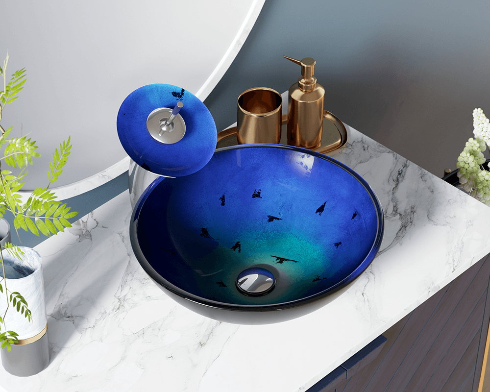 608 Lifestyle Image: Fully Tempered Glass Round /Blue Vessel Bathroom Sink