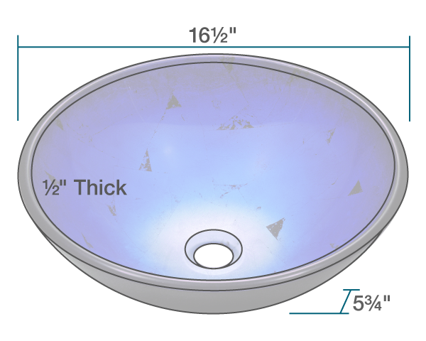 "The dimensions of 608 Foil Undertone Glass Vessel Sink is 16 1/2"" x 16 1/2"" x 5 3/4"". Its minimum cabinet size is 18""."