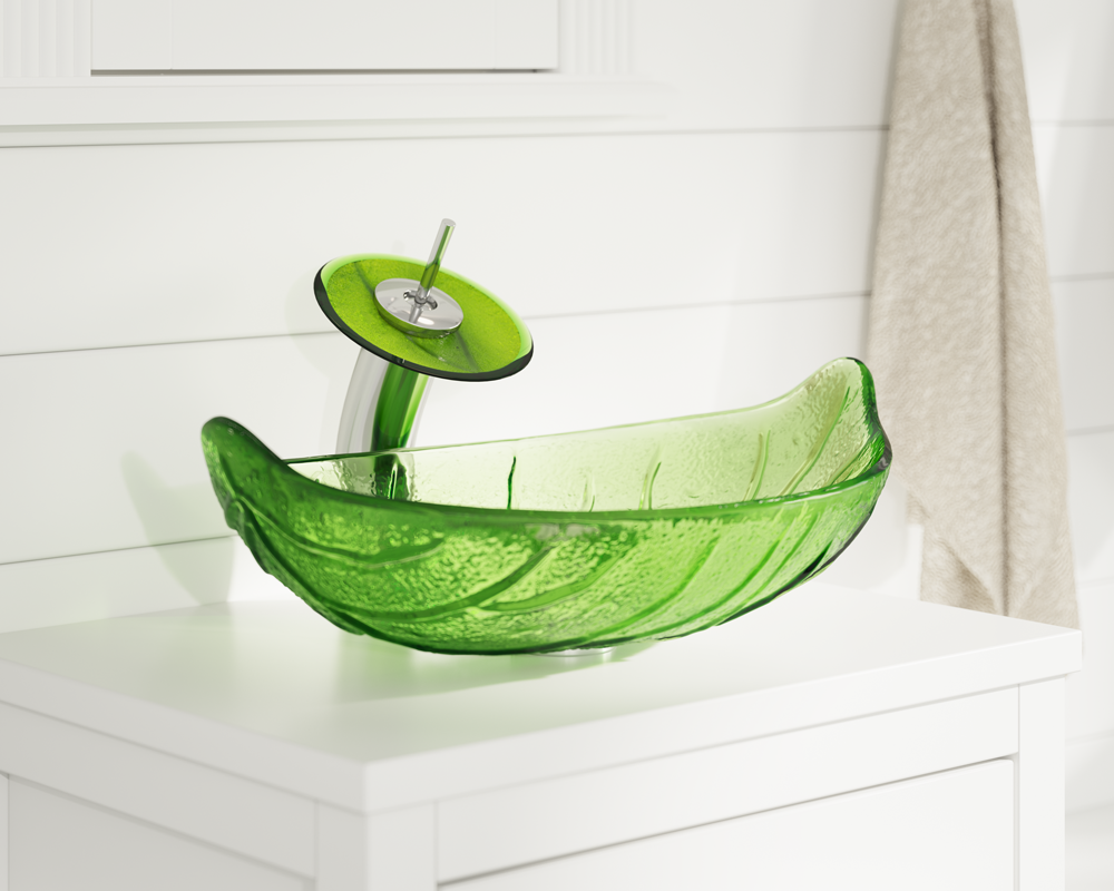 609 Lifestyle Image: Fully Tempered Glass Other Green Vessel Bathroom Sink