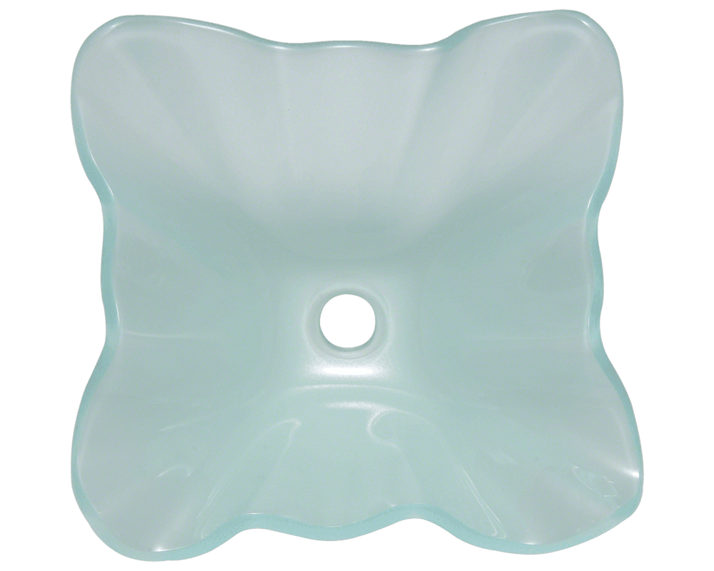 611 Alt Image: Fully Tempered Glass Square Vessel Frosted Bathroom Sink