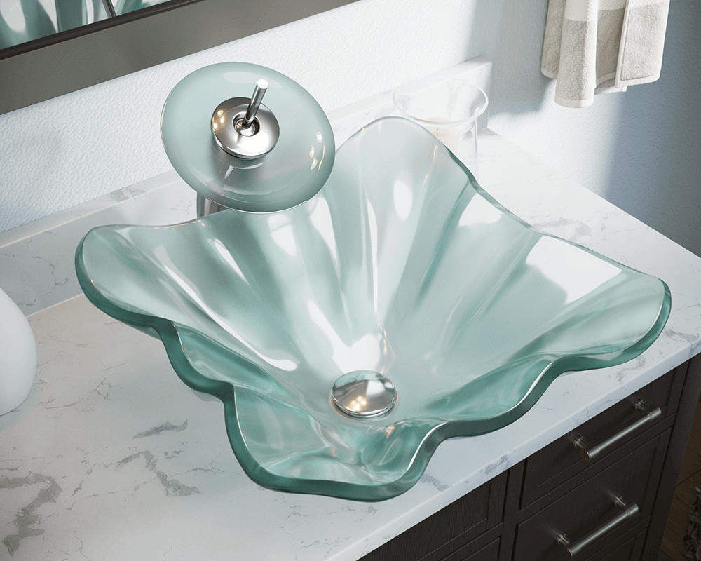 611 Lifestyle Image: Fully Tempered Glass Square Frosted Vessel Bathroom Sink