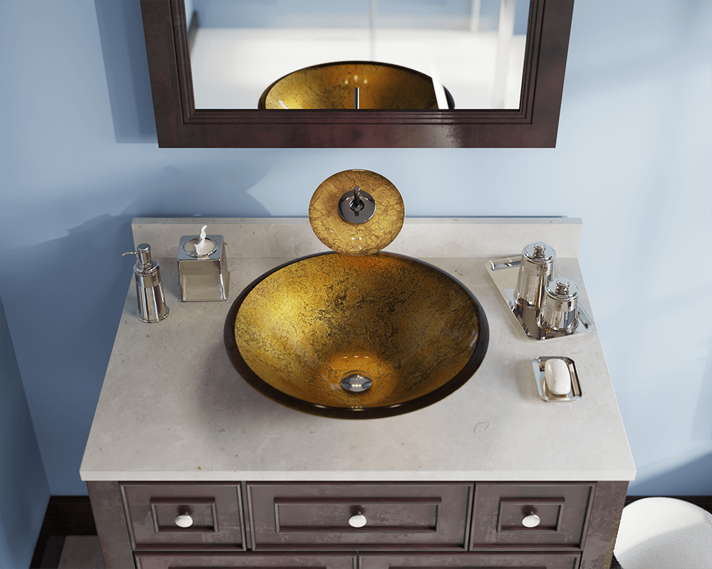 613 Lifestyle Image: Fully Tempered Glass Round /Brown Vessel Bathroom Sink