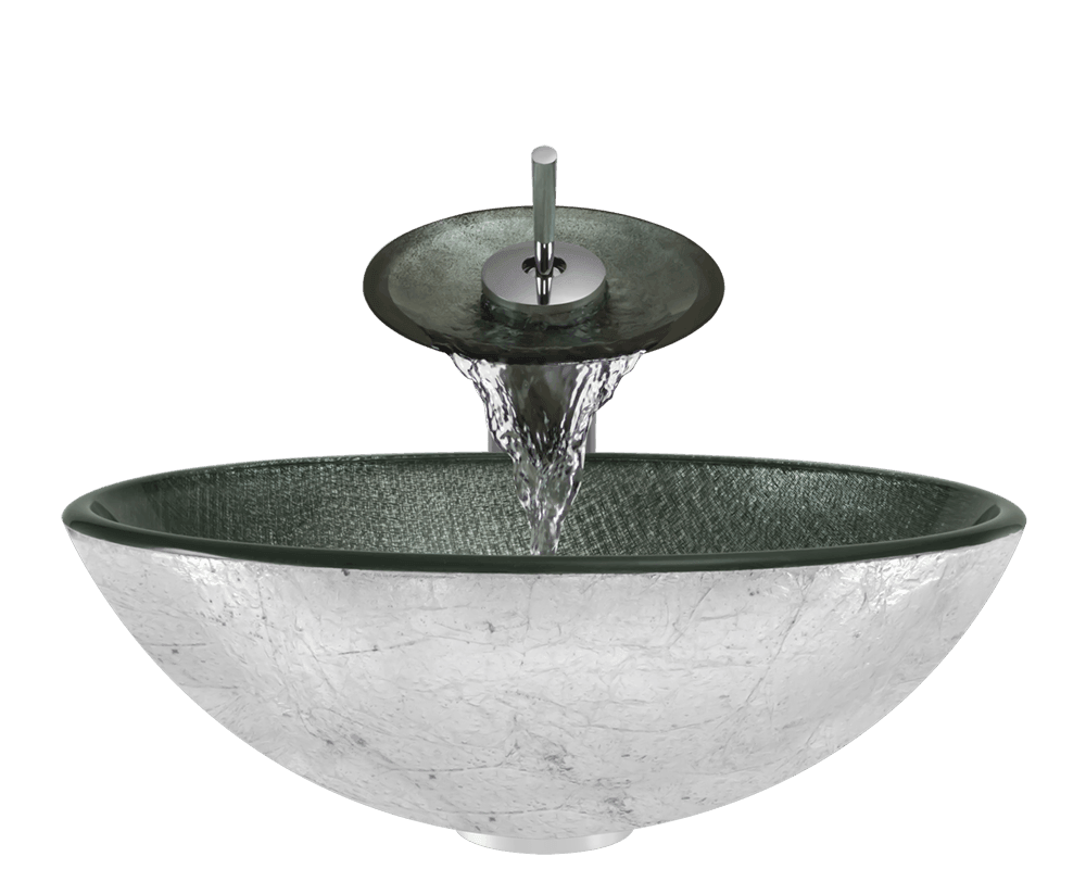 617 Alt Image: Fully Tempered Glass /Silver Vessel Round Bathroom Sink