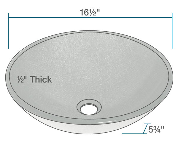 "The dimensions of 617 Silver Mesh Glass Vessel Sink is 16 1/2"" x 16 1/2"" x 5 3/4"". Its minimum cabinet size is 18""."