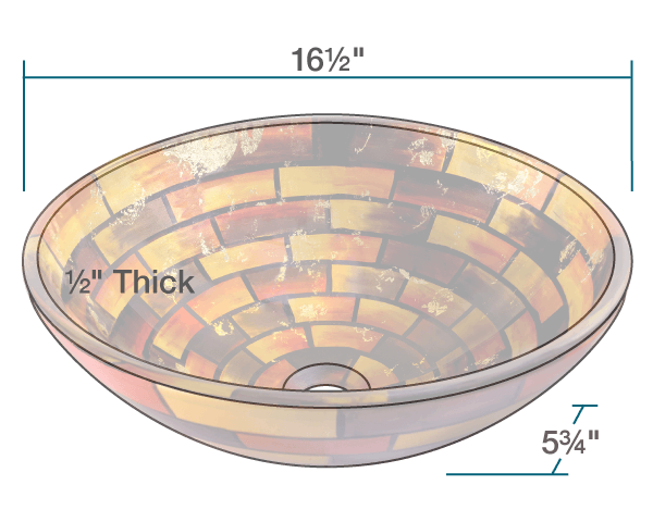 "The dimensions of 62110 Stained Glass Vessel Bathroom Sink is 16 1/2"" x 16 1/2"" x 5 3/4"". Its minimum cabinet size is 18""."