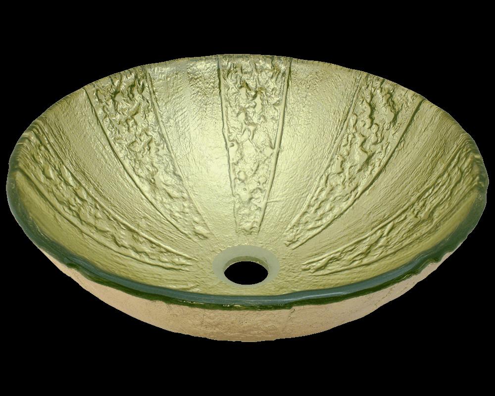 623 gold foil glass vessel bathroom sink