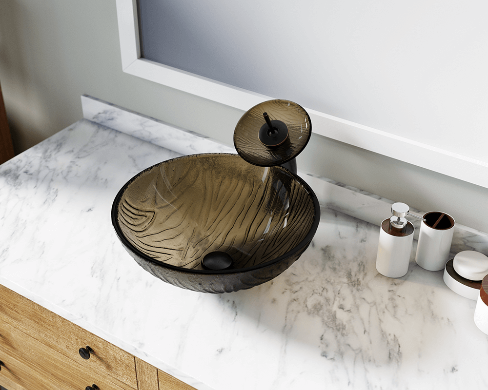 626 Lifestyle Image: Fully Tempered Glass Round Brown Vessel Bathroom Sink