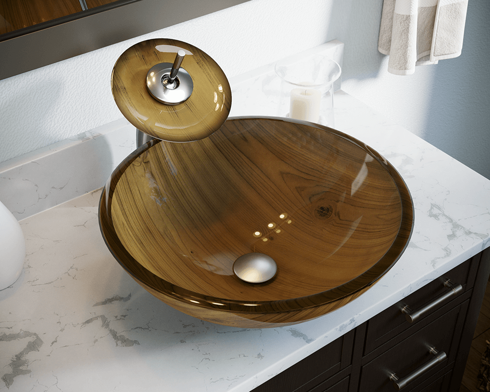 Astounding 628 Wood Grain Glass Vessel Bathroom Sink Interior Design Ideas Clesiryabchikinfo
