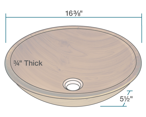 "The dimensions of 628 Wood Grain Glass Vessel Bathroom Sink is 16 3/8"" x 16 3/8"" x 5 1/2"". Its minimum cabinet size is 18""."