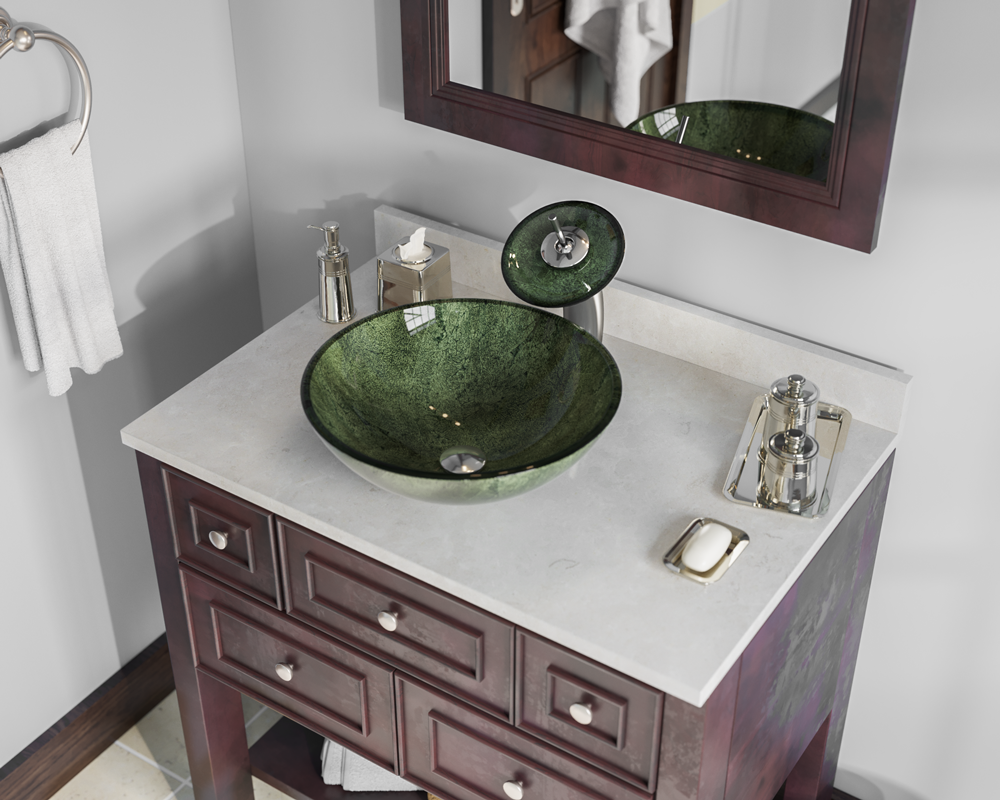 629 Forest Green Glass Vessel Bathroom Sink