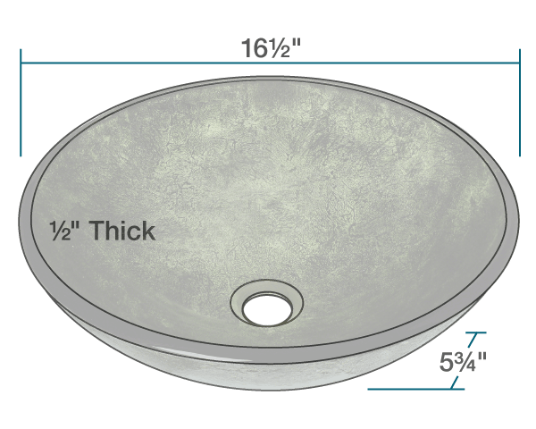 "The dimensions of 629 Forest Green Glass Vessel Bathroom Sink is 16 1/2"" x 16 1/2"" x 5 3/4"". Its minimum cabinet size is 18""."