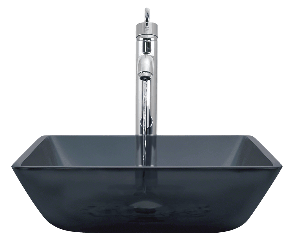 630 Square Black Glass Vessel Bathroom Sink