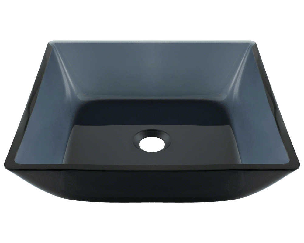 Glass Sink Bathroom 630 Square Black Glass Vessel Bathroom Sink