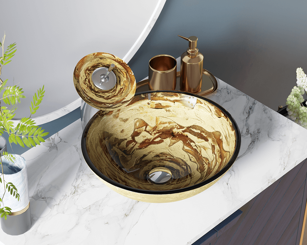 631 Lifestyle Image: Fully Tempered Glass Round /Green Vessel Bathroom Sink