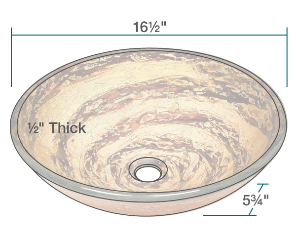 "The dimensions of 631 Foil Undertone Glass Vessel Sink is 16 1/2"" x 16 1/2"" x 5 3/4"". Its minimum cabinet size is 18""."