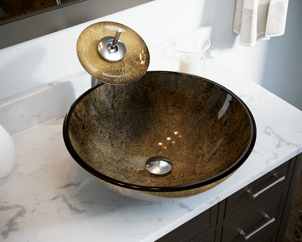 637 Lifestyle Image: Fully Tempered Glass Round One Bowl Vessel Bathroom Sink