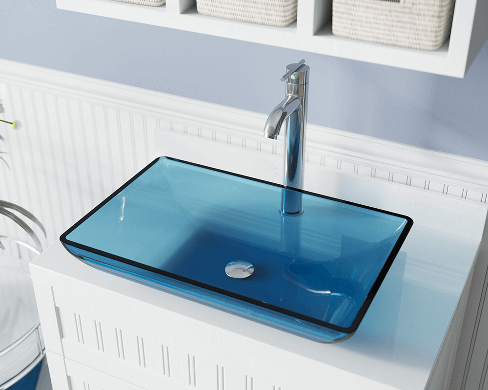 640 Aqua Colored Gl Vessel Bathroom Sink