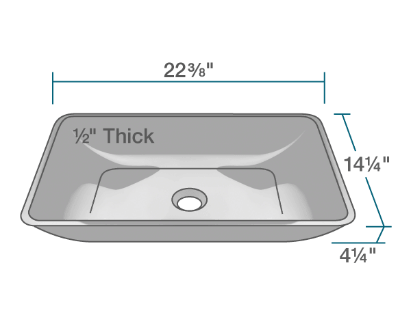 "The dimensions of 640-Black Colored Glass Vessel Bathroom Sink is 22 3/8"" x 14 1/4"" x 4 1/4"". Its minimum cabinet size is 24""."