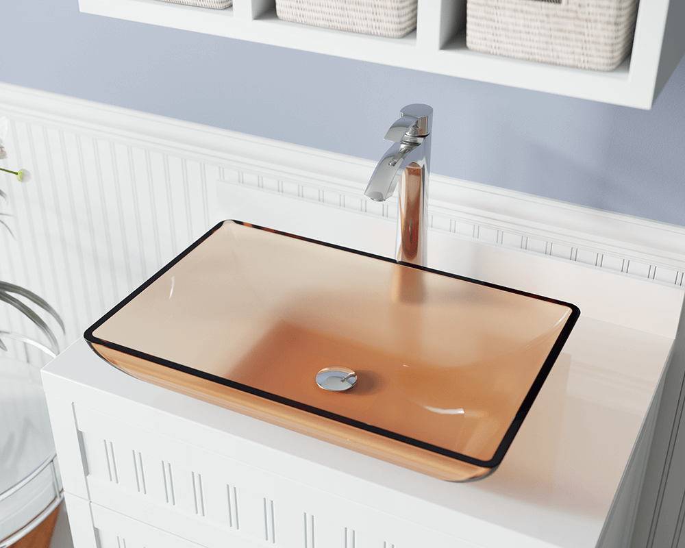 640-Coral Lifestyle Image: Fully Tempered Glass Rectangle Red Vessel Bathroom Sink