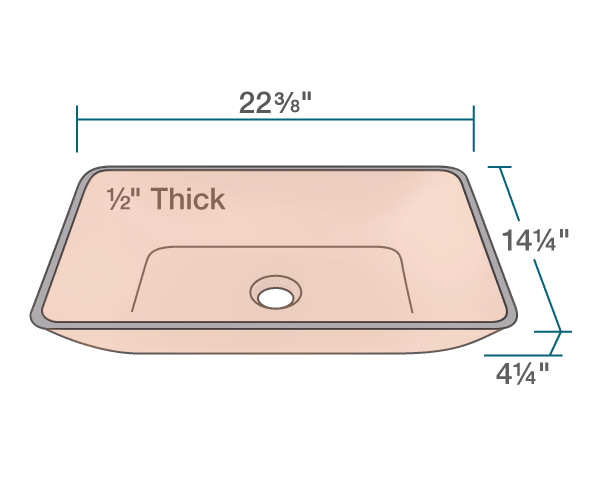 "The dimensions of 640-Coral Colored Glass Vessel Bathroom Sink is 22 3/8"" x 14 1/4"" x 4 1/4"". Its minimum cabinet size is 24""."