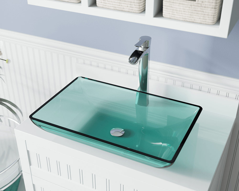 640-Emerald Lifestyle Image: Fully Tempered Glass Rectangle Green Vessel Bathroom Sink