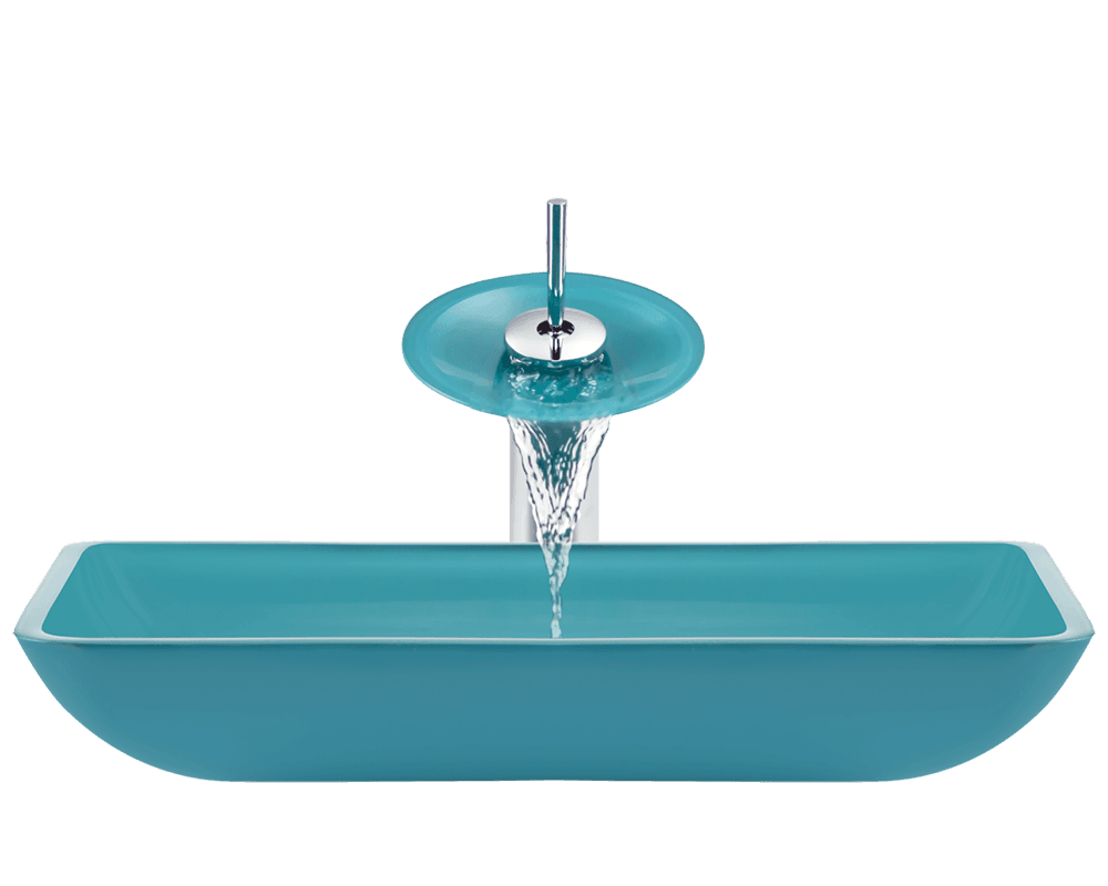 640-Turquoise Alt Image: Fully Tempered Glass /Green Vessel Rectangle Bathroom Sink