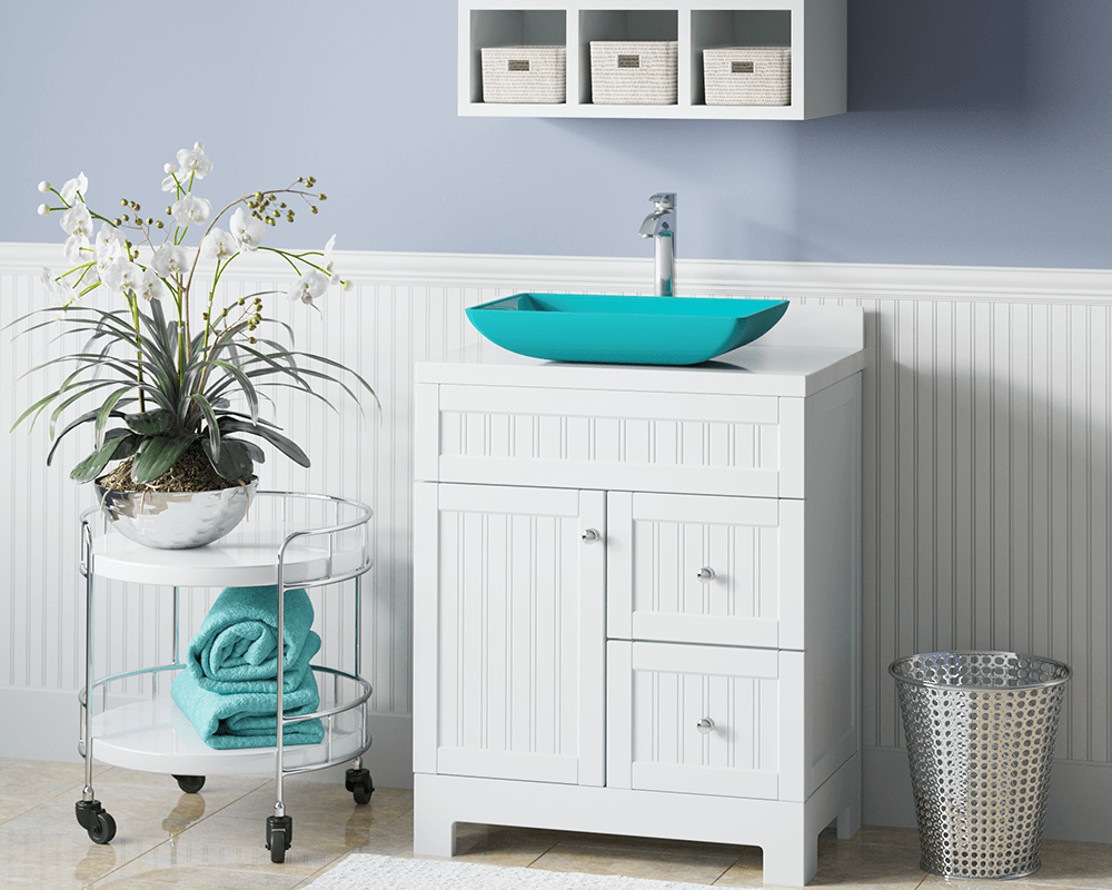 640-Turquoise Lifestyle Image: Fully Tempered Glass Rectangle Vessel /Green Bathroom Sink