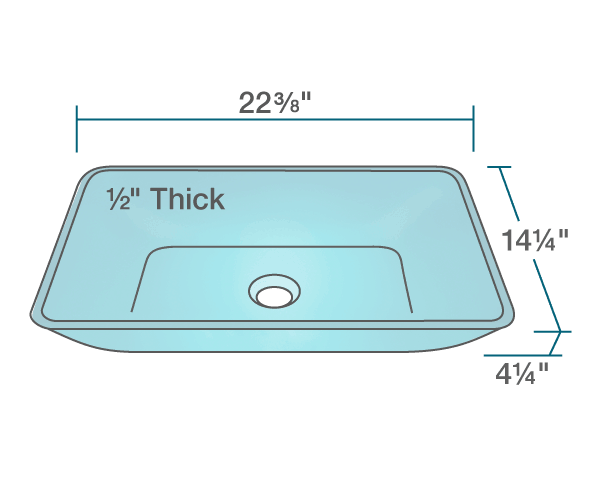 "The dimensions of 640-Turquoise Colored Vessel Sink is 22 3/8"" x 14 1/4"" x 4 1/4"". Its minimum cabinet size is 24""."