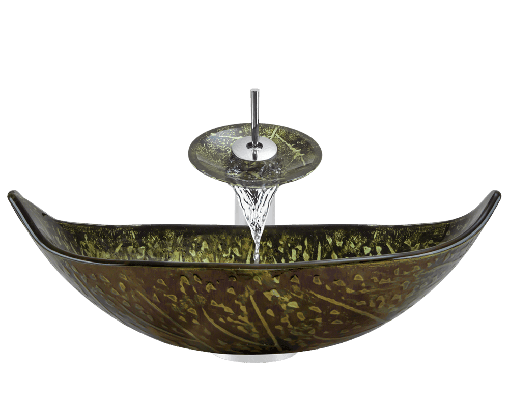 643 foil undertone leaf glass vessel sink
