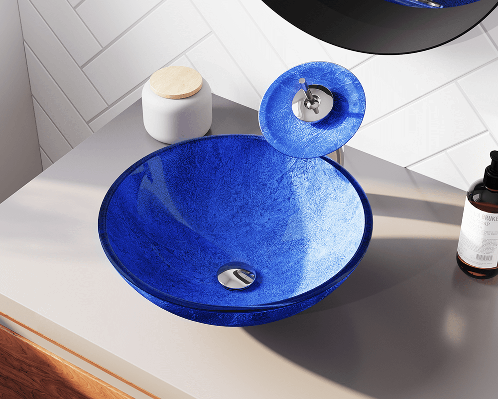 644 Lifestyle Image: Fully Tempered Glass Vessel Round Blue Bathroom Sink