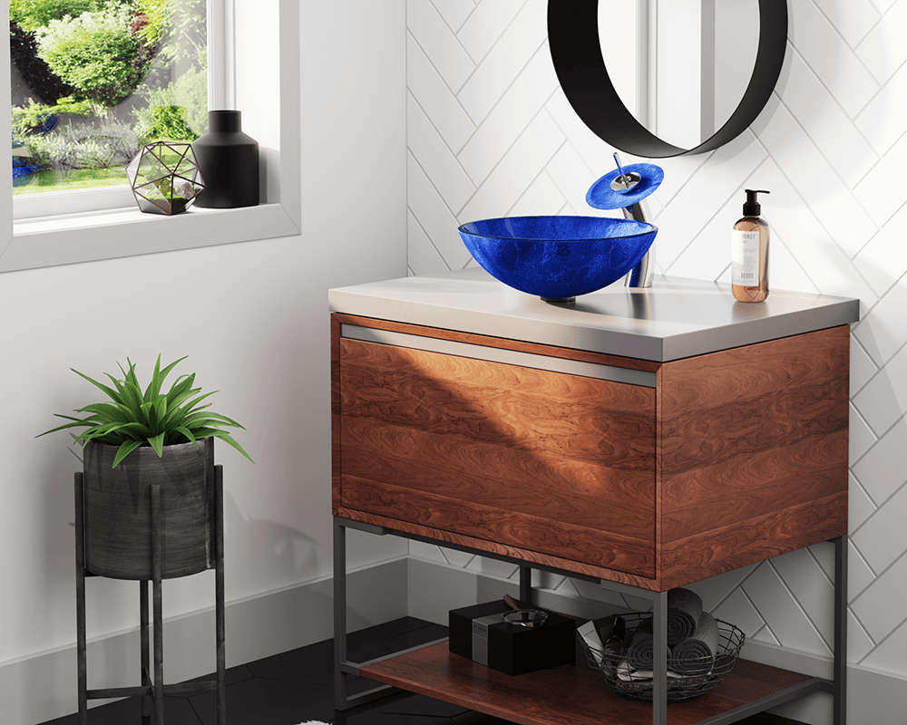 644 Lifestyle Image: Fully Tempered Glass Round Vessel Blue Bathroom Sink