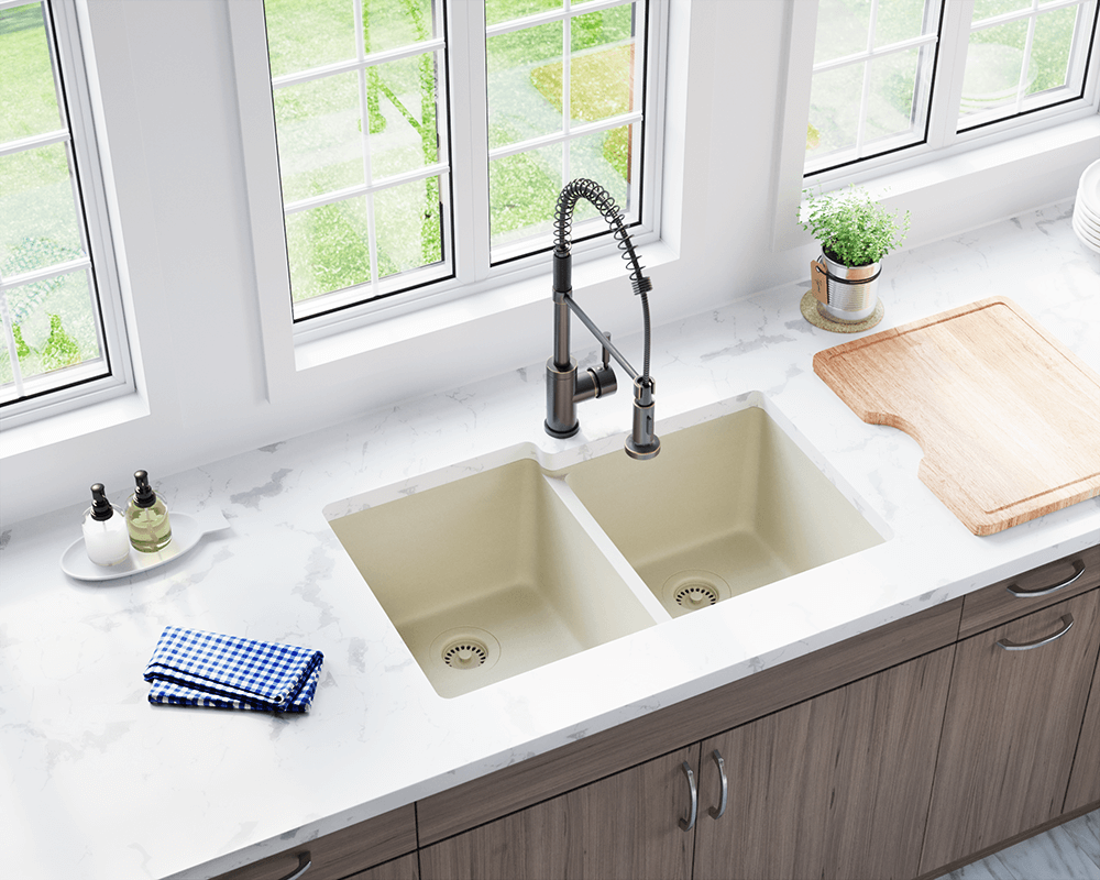 801-Beige Double Offset Bowl TruGranite Sink on wall mount kitchen sink faucet, farmhouse kitchen sink faucet, single kitchen sink faucet,