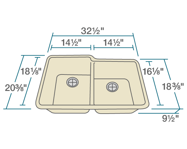 "The dimensions of 801-Beige Double Offset Bowl TruGranite Sink is 32 1/2"" x 20 3/8"" x 9 1/2"". Its minimum cabinet size is 33""."