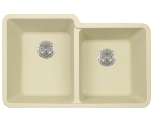801-Beige Double Offset Bowl TruGranite Sink