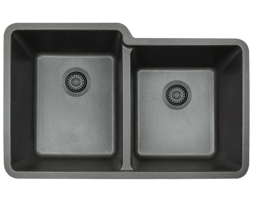 801-Black Alt Image: 80% Quartz 20% Acrylic Rectangle Undermount Black Kitchen Sink