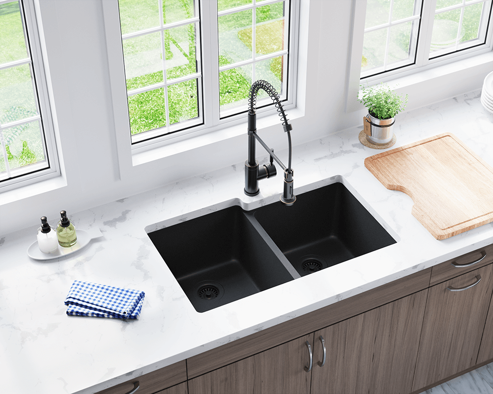 801-Black Lifestyle Image: 80% Quartz 20% Acrylic Undermount Rectangle Black Kitchen Sink