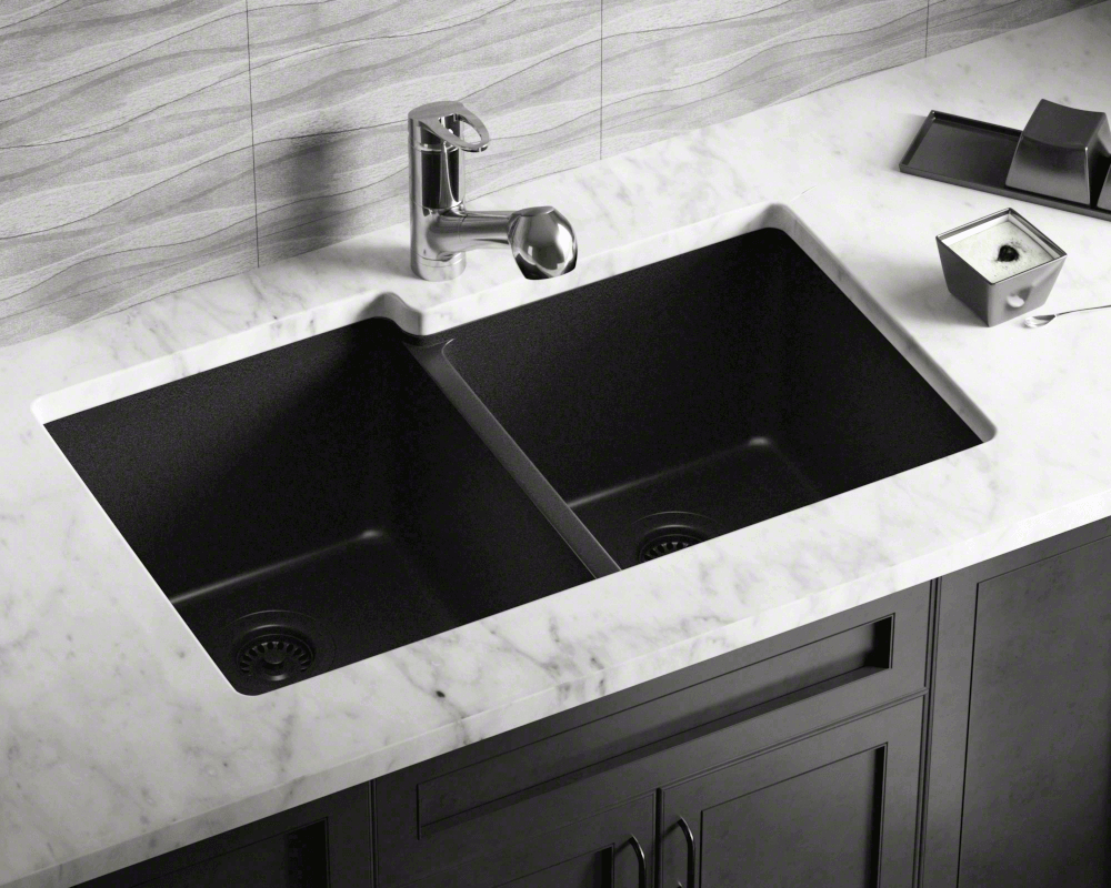 801-Black Lifestyle Image: 80% Quartz 20% Acrylic Rectangle Black Undermount Kitchen Sink