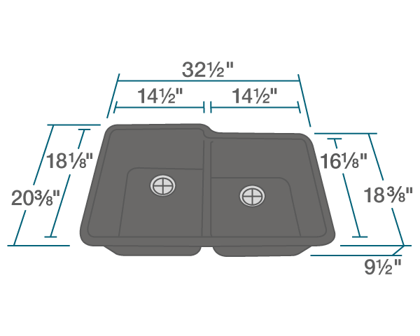 "The dimensions of 801-Black Double Offset Bowl TruGranite Sink is 32 1/2"" x 20 3/8"" x 9 1/2"". Its minimum cabinet size is 33""."