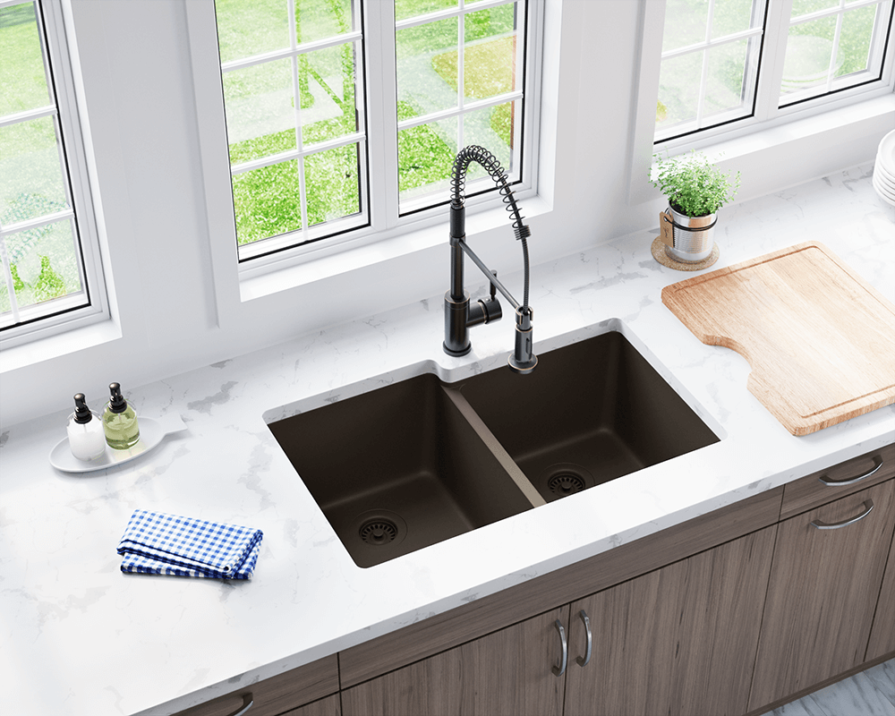 801 Mocha Double Offset Bowl Trugranite Sink