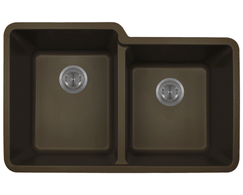 801-Mocha Double Offset Bowl TruGranite Sink