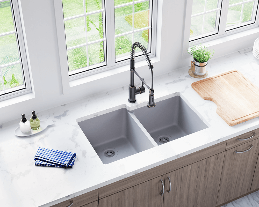 801 Silver Double Offset Bowl Trugranite Sink