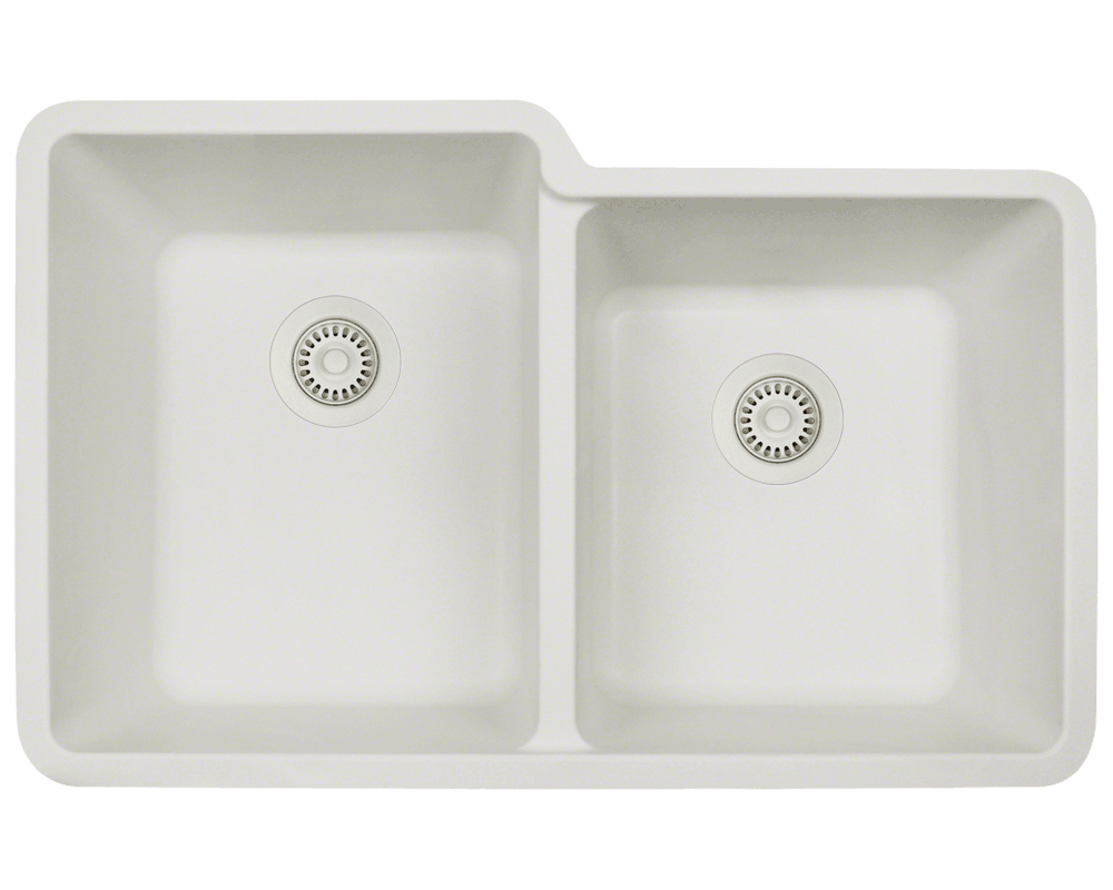 801-White Alt Image: 80% Quartz 20% Acrylic Rectangle Undermount White Kitchen Sink