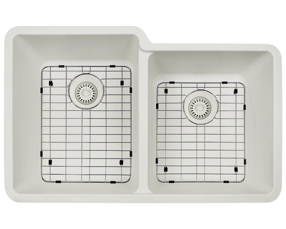 801-White Alt Image: 80% Quartz 20% Acrylic Undermount Rectangle White Kitchen Sink