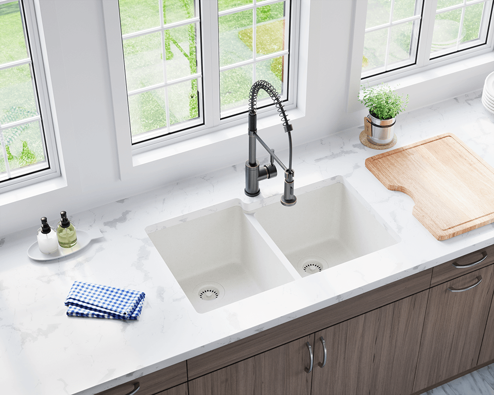 801 White Double Offset Bowl Trugranite Sink