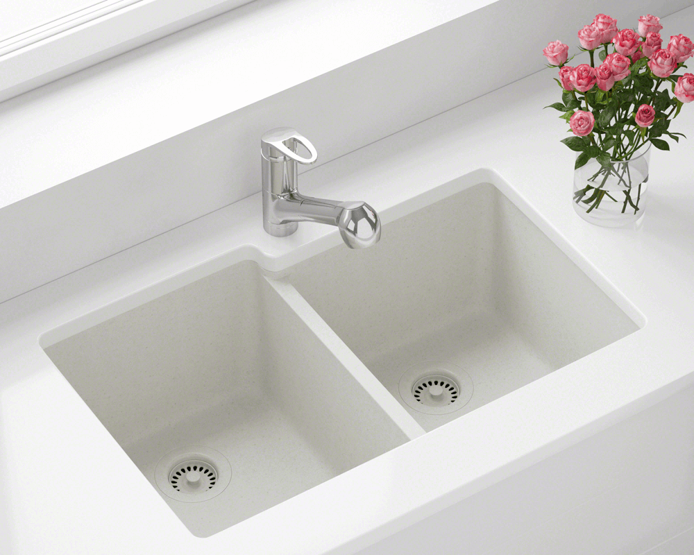 801-White Lifestyle Image: 80% Quartz 20% Acrylic Rectangle White Undermount Kitchen Sink