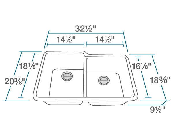 "The dimensions of 801-White Double Offset Bowl TruGranite Sink is 32 1/2"" x 20 3/8"" x 9 1/2"". Its minimum cabinet size is 33""."