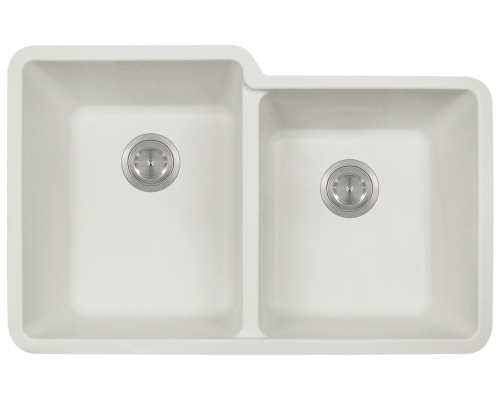 MR Direct 801-White 801-White Double Offset Bowl TruGranite Sink